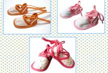 patucos tela Baby Mandarina / Divertidos patucos en tela, tipo babuchas, merceditas, sandalias... para un bebé con estilo..