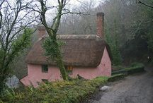 Pink thatched cottages