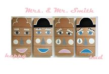 """TOYS woodblocks """"Mrs.&Mr.Smith"""" / woodblocks / mix&match / emotions / hand painted"""