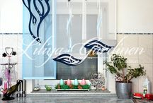 küchengardine blau