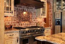 Kitchen / Dark brown hardwood floors Light grey cabinets