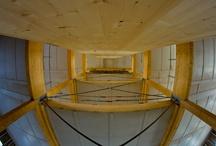 Urbawood, vues intérieures, construction bois / Urbawood est un projet innovant de bâtiment tertiaire 100% bois réalisé en moins de 6 semaines ! Murs ossature bois, cage d'ascenseur en bois, plancher bois...