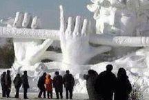 Winterlandschaft und Skulpturen