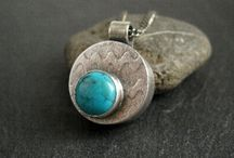 Turquoise and Silver Hollow Form Pendant / A handmade sterling silver hollow form pendant with turquoise cabochon by Cinnamon Jewellery and pins linking to how I made it and the supplies and tools involved