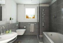 Salles de bain grises / Voici quelques idées pour aménager une salle de bain de couleur grise.