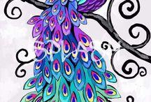 yağlıboya tavuskuşu