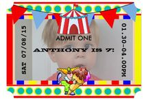 Kids Circus Party Pack / Personalized Circus Carnival Party Invitations and Supplies.