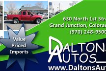 Nice Used Cars Grand Junction CO / http://DaltonsAutosGJ.com/ Daltons Autos specializes in value-priced imports and is here to help you find the ideal vehicle to meet your needs and your budget. Check out our selection of top-quality preowned cars, trucks, SUVs and vans today. If we don't have what you want, let us know. We have access to a large network of vehicles and can help you find your dream car.  Daltons Autos 630 North 1st Street Grand Junction, Colorado 81501  Phone: (970) 248-9500