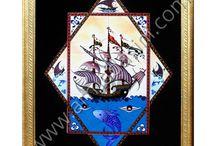 Eldekoru İznik çini desenli pano Ottoman turkish tiles hand made decoration ceramic tiles interior / cini sanatı geleneksel kutahya ve iznik cinileri otel turk hamamı ve cami mescid cını dekorasyonu Ottoman turkish tiles hand made decoration