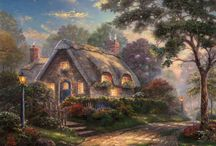 Cottages Art / Masterpieces of art by famous painter Thomas Kinkade.