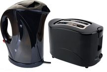 Electric Kettle Toaster Black Gloss Kitchen Set Cordless Jug Home Appliances Tea