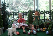 Happy Easter Doll Display  / This is a small version with just 3 dolls.  I wanted way to celebrate Easter and feature some Easter Eggs.  The dolls used in the photos are 1950's Dollikin, Revlon and smaller baby doll (no marketings) along with some cuddly fluffy stuff puppies.