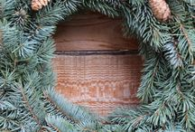 Christmas wreath by forest