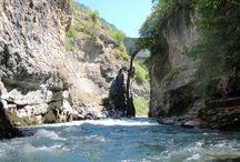 La rivière de l'Ubaye / Vision de la rivière de L'Ubaye. Rivière et vue de la riviére
