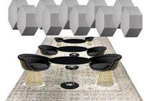 A-B. SET FUTURISTA / Inspiración: velocidad, Sant´Elia, Marinetti, Zaha Hadid, Ron Arad, Vondom, color blanco, metal, geometría, iluminación led....