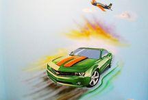 Artystyczne malowanie ścian - sportowe auto / Ręcznie malowane ściany