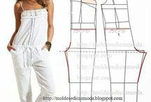 wykroje spodni, kombinezonów
