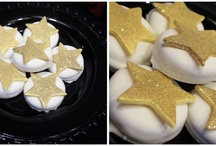 Movie Themed Birthday Party  Chocolate Covered Oreos with Fondant Stars Gold Stars Desserts