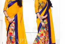 Buy Online Saptrangi Yellow Digital Print Sari