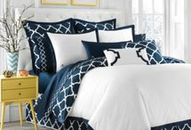 white and navy bedrooms