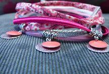 Bracelets multiliens 2 tours / Pièces uniques faites à la main, les bracelets Clair de Lune jouent sur des alliances subtiles de matières et de couleurs pour sublimer tous les poignets. Lacets plats en cuir de vachette d'origine européenne, cordons en tissu liberty, suédine, rubans organza, chaque bracelet est composé de 4 à 6 liens reliés par des fermoirs coloris argentés ou bronze garantis sans nickel.  / by Clair de Lune