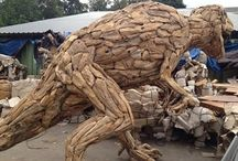 Driftwood Dinosaur / We supply original, exceptional driftwood animal sculptures, handcrafted from teak tree roots.  Our impressive dinosaur has strength and durability,  due to its high oil content. The driftwood dinosaur is so realistic that it will take your breath away. For more information or a quotation, please ring us on 0845 3731 832 or visit our webpage http://www.driftwoodhorse.co.uk/driftwood-dinosaur.html.