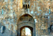 Seven open gateways in Jerusalem's Old City Walls. Israel.