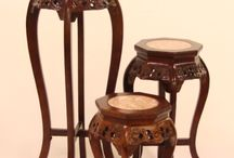 Asian Plant Stands / Hand carved and painted with great detail to make any plants and flowers stand out more.