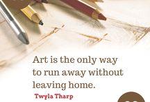 Pari sanaa luovuudesta / Lainauksia luovuudesta, taiteen tekemisestä, inspiraatiosta ja onnellisuudesta.