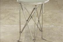 COFFEE/END TABLES - Interior design / Coffee tables End tables, wood, chrome, glass, metal, silver, white, brown, living room, family room, #InteriorDesign INTERIOR DESIGNER: Jil Sonia McDonald of Jil Sonia Interiors, Chilliwack, BC V4Z 1K7 https://www.jilsoniainteriors.com/