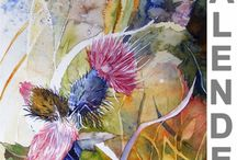 Unsere Kalender mit einer Auswahl von Aquarellen / Auf dieser Pinnwand stellen wir noch einmal alle Kalenderblätter mit einer Auswahl unserer Aquarelle. On this Wall we still once every calendar pages with a selection of our watercolors. #Kalender #Aquarelle #calendar #watercolors