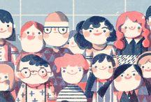 ilustração, boys & girls