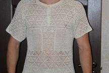 horgolt férfi póló