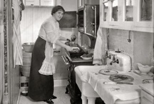 Vintage Kitchens / Black & white photos of various kitchens through the years. We love our Kitchens! Have you checked out the kitchens we have on site at Parksville Museum in Parksville, BC??