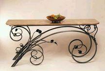 staal en hout tafel