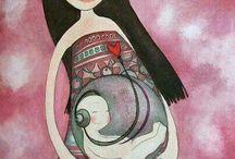 Maternidad ilustrada / Hermosas ilustraciones y expresiones artísticas de maternidad, niños y familias