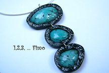 FIMO nápady - imitace drahých kamenů, perleti (faux gems, mother of pearls, pearls)