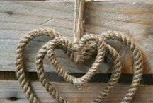 Hearts made from rope