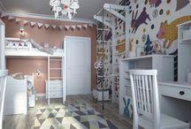 Дизайн детской для 2 детей,дизайн интерьера Спб