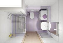 Koupelny - příklady řešení 1) Paneláková koupelna I - levnější varianta