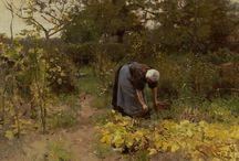 Moestuinkunst / Prachtige schilderijen van moestuinen en verse groenten, fruit of kruiden.