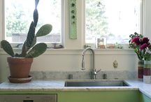 Kitchen stone and mixed surface countertops  ( marble granite glass ) / by Dryad