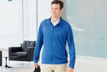 """Knits & Layering By SpazeApparel.com / Layer your wardrobe with sporty and business casual styles.From blazers to V-necks, our polished professional pieces are perfect for your next corporate event. Also, our selection of performance tops keeps up with your active lifestyle. To inspire your look, we've added """"Layer With"""" call-outs that suggest how to pair up knits with complementary pieces from SpazeApparel.com."""