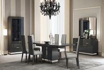 Modern Wood Leather Dark Grey Extendable Dining Collection