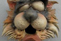 pottery dog head