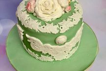 Lace and floral birthday cake