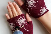 knitted mittens and gloves