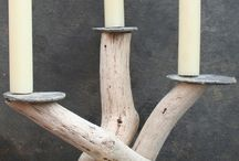 wooden natural candle holder