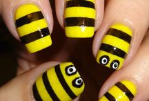 Projects to Try / Paint your nails yellow. Cut pieces of tape . Paint black . Peel off tape and draw on eyes