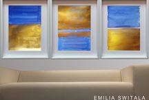 Cobalt Blue and Gold Paintings